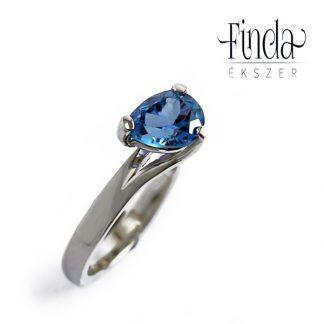 Tengerszem arany gyűrű kék topázzal