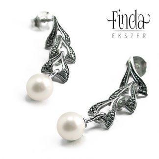 Vintage ezüst fülbevaló fehér gyönggyel
