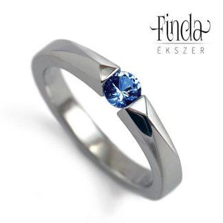 Bridge nemesacél gyűrű kék zafírral