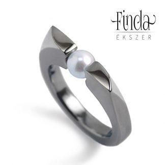 Wave női gyűrű fehér tenyésztett gyönggyel
