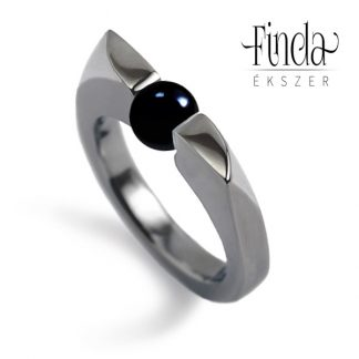 Wave női gyűrű ónix gyönggyel