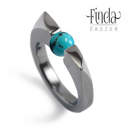 Wave női gyűrű türkiz gyönggyel