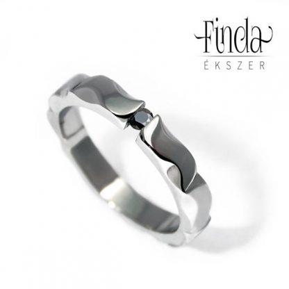 Mandala fekete gyémánt eljegyzési gyűrű