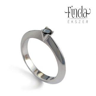 Viola nemesacél fekete gyémánt gyűrű