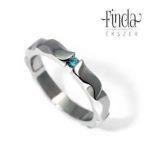 Mandala nemesacél gyűrű kékeszöld gyémánt briliánssal