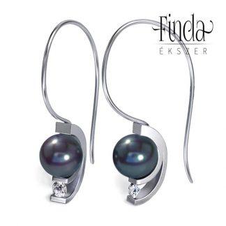 Asztron gyémánt fülbevaló, sötét tenyésztett gyönggyel, tenyésztett gyöngy ékszer, arany fülbevaló, gyémánt fülbevaló