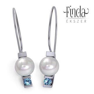 Asztron kék topáz fülbevaló fehér tenyésztett gyönggyel