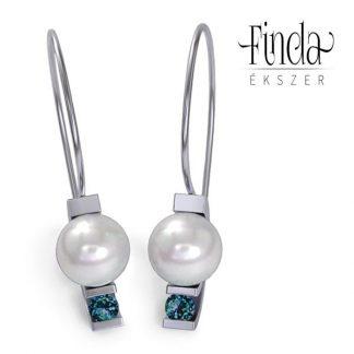 Asztron zöld gyémánt fülbevaló, fehér tenyésztett gyönggyel