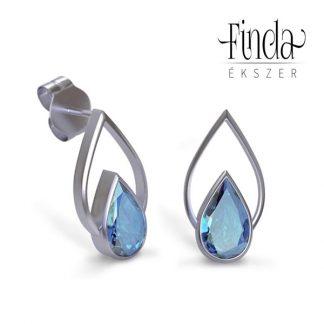 Csepp arany fülbevaló kék topázzal, bedugós fülbevaló, csepp alakú fülbevaló