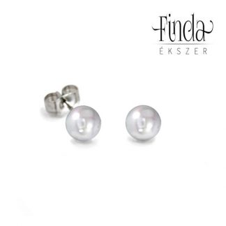 Tenyésztett gyöngy bedugós fülbevaló, fehér arany gyöngyös fülbevaló, egyszerű gyöngyös fülbevaló arany