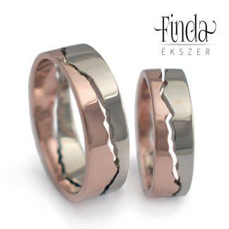 Mountain kétszínű arany karikagyűrű - fehér és rozé