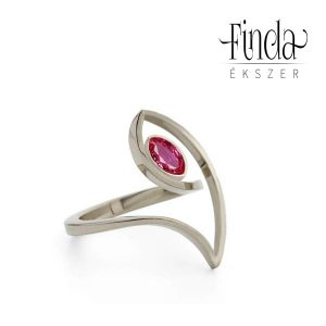 Fehérarany gyűrű rubinnal - terv 1