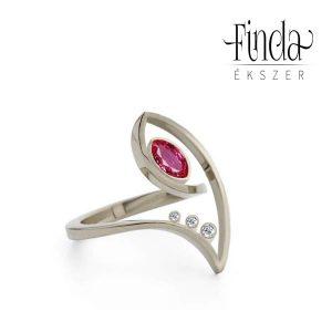 Fehérarany gyűrű rubinnal - terv 2