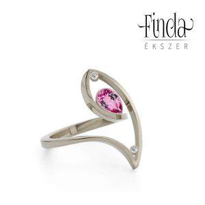 Fehérarany gyűrű rubinnal - terv 3