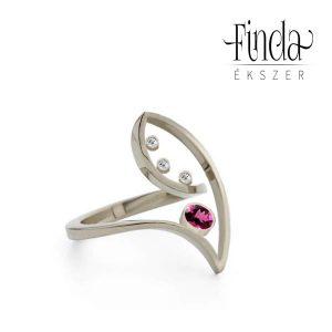 Fehérarany gyűrű rubinnal - terv 5