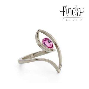 Fehérarany gyűrű rubinnal és gyémánttal 6