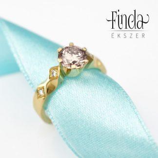 Queen arany gyémánt gyűrű morganittal