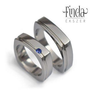 Szögletes karikagyűrű kék zafírral