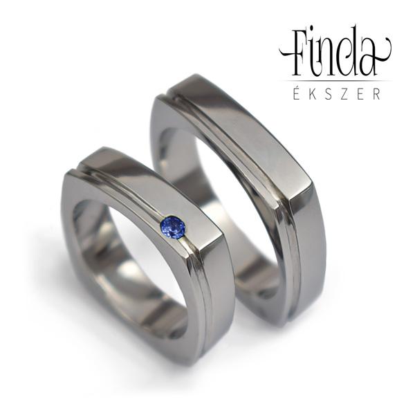 9fcded9cd62 Szögletes karikagyűrű kék zafírral ⋆ Finda Ékszer