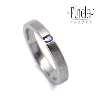 Rustic Slim gyűrű lila ametiszttel