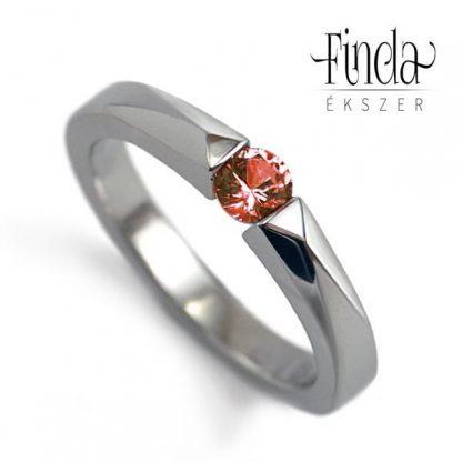 Bridge nemesacél gyűrű piros zafírral