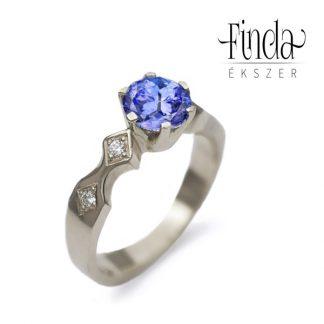 Queen fehérarany gyémánt gyűrű tanzanittal