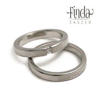 Rustic Slim fehér arany karikagyűrű gyémánttal