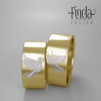 Kétszínű arany karikagyűrű kiemelkedő galamb motívummal