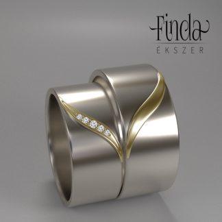 Kétszínű arany karikagyűrű kiemelkedő ívelt mintával
