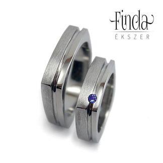 Szögletes karikagyűrű tanzanittal